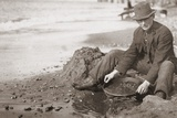 Man Panning Gold on Nome  Alaska  Beach in the Early 20th Century