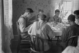 Old and Young Farmers Having a Full Dinner During Wheat Harvest Time  Central Ohio August 1938