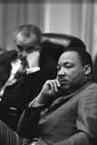 President Lyndon Johnson and Martin Luther King Jr in the Cabinet Room White House March 18 1966