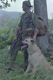 Camouflaged US Marine and His Scout Dog Named 'Major' in Vietnam  Nov 1967