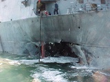 Damage to the USS Cole by Al Qaeda Suicide Bombers  Oct 12  2000