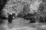 US Marines Move Through Water in Vietnam  July 1966
