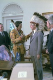 Jimmy Carter Wearing a Feathered Headdress with 'Iron Eyes' Cody   April 21  1978