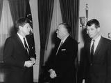 President Kennedy  J Edgar Hoover  and Robert Kennedy  in White House  Feb 23  1961