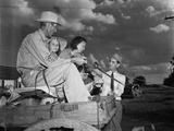 Congressman Lyndon Johnson Campaigning with a Family on a Horse Drawn Wagon in Texas May 31 1941