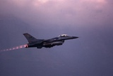 F-16 Fighting Falcon Takes Off on a Combat Mission in Former Yugoslavia  April 1999