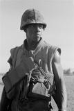 African American Marine on Patrol South of Da Nang  Vietnam  Oct 1969