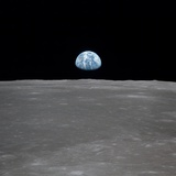 Apollo 11 Earth Rise over the Moon, July 20, 1969 Reproduction photo