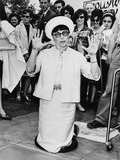 Edith Head  after Leaving Hand Prints in Cement at Hollywood Pavilion in 1964