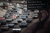 Four Lanes of Traffic on the Hollywood Freeway in Los Angeles in 1970s