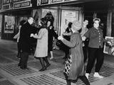 Teens Dancing the 'Twist' Outside the Brooklyn Fox Theatre  1969