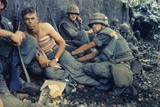 Medic Treats a US Marine's Wounds During Operation Hue City  Tet Offensive  Feb 1969