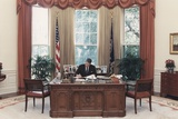 President Reagan Working at His Desk in the Oval Office July 15 1988 Po-Usp-Reagan_Na-12-0101M