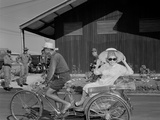 Phyllis Diller Rides in a Tricycle Rickshaw at Korat Air Base  Thailand  Dec1966