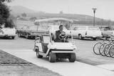 Richard Nixon Driving a Golf Cart in a Sidewalk to the Helipad at San Clemente  Ca 1969-74