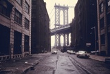 Classic View of the Manhattan Bridge Tower in Brooklyn June 1974