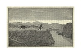 Illustration of Lewis and Clark's Expedition from 1803-6 Man Chased by a Bear