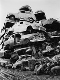 Pile of Discarded Automobiles in a Junkyard in New York City  1957