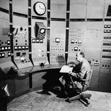 Enrico Fermi at Control Panel of a Particle Accelerator  in 1951