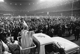 Pope John Paul II Waves to Cheering Crowd in NYC's Yankee Stadium  Oct 4  1979
