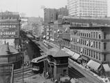 Bird's-Eye View of Chicago's Wabash Avenue  Showing Elevated Railroad  1907