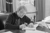 President Jimmy Carter Working at His Desk in the White House Oval Office  1970s