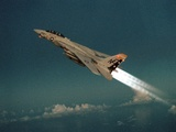 F-14 Tomcat Fighter Climbs with its Afterburners Ignited  May 1  1989