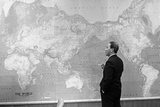 President Nguyen Van Thieu of South Vietnam Standing by World Map  July 19  1968