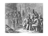 Dutch Tobacco Shop with 4 Men Smoking in the 17th Century