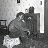 Polish-American Coal Mine Listens to the Radio after Work  West Virginia  1938