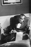 Richard Nixon Working in the Lincoln Sitting Room  Ca 1969-74
