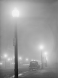 Street Lights Glow on a Foggy Night in New Bedford  Massachusetts  Jan  1941