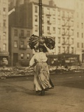 Italian Woman Carrying Bundle of Clothing on Her Head Near Astor Place  NYC  1912