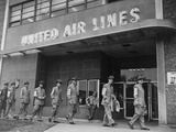 United Air Lines Uniformed Pilots Picket the Chicago Midway Terminal  1951