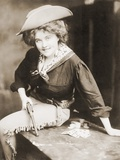 Cowgirl Holding Revolver  with Playing Cards and Chips  Ca 1900