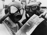 Anti-Pollution Activists Wear Gas Masks  as They Pass Out a Health Bulletin  1966