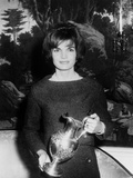 Jackie Kennedy Holds a Silver Pitcher from James Alexander at White House  1962