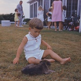 President Kennedy's Two Year Old Son  John Jr Playing with a Puppy  Aug 3  1963
