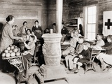 Students in a One-Room School Receive Grapefruit from Red Cross in 1930-31