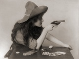 Cowgirl with Deck of Cards and Chips  Pointing a Pistol  1912