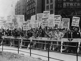 Teamster Union Signs Supporting Higher Pay and Pensions in NYC  1954