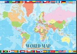 World Map for Kids Tableau sur toile