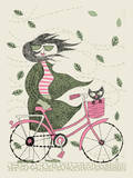 Fall Hipster Girl Bike