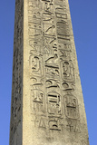 Hieroglyphics on Ancient Egyptian Obelisk from Luxor in the Place De La Concorde  Paris  1800s