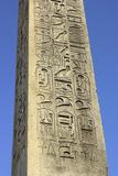 Hieroglyphics on Ancient Egyptian Obelisk from Luxor in the Place De La Concorde  Paris  1800s