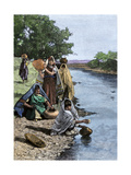 Pueblo Indian Women Drawing Water from the Rio Grande in New Mexico