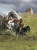 Families in Covered Wagons Crossing the Plains