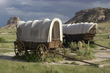 Restored Covered Wagons (Conestoga Wagon at Rear)  at Scotts Bluff on the Oregon Trail in Nebraska