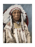 Crow Indian Chief in a Traditional War Bonnet and Clothing  circa 1900