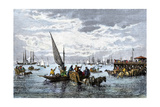 Passengers Disembarking from Steamships in Buenos Aires Harbor  1800s
